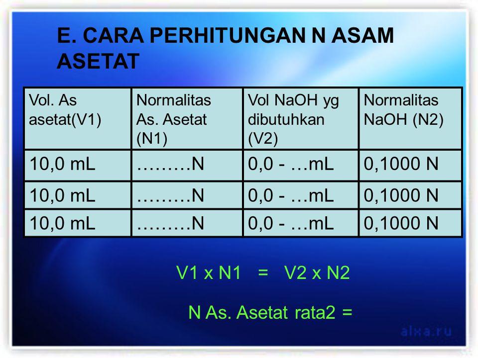 E. CARA PERHITUNGAN N ASAM ASETAT Vol. As asetat(V1) Normalitas As. Asetat (N1) Vol NaOH yg dibutuhkan (V2) Normalitas NaOH (N2) 10,0 mL………N0,0 - …mL0