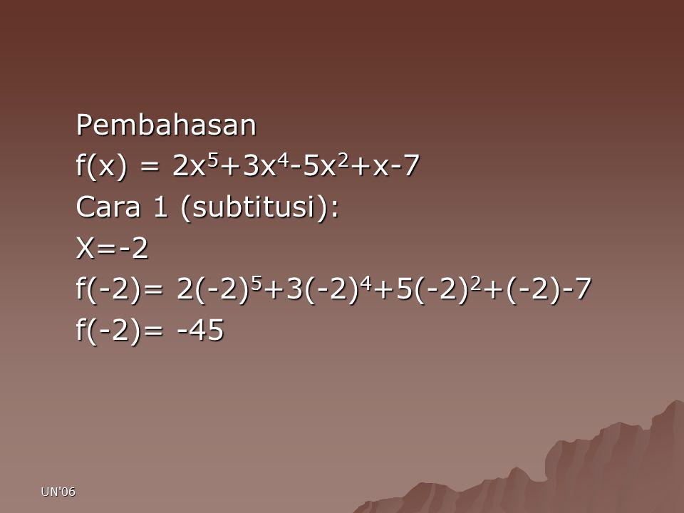 UN'06 Pembahasan f(x) = 2x 5 +3x 4 -5x 2 +x-7 Cara 1 (subtitusi): X=-2 f(-2)= 2(-2) 5 +3(-2) 4 +5(-2) 2 +(-2)-7 f(-2)= -45