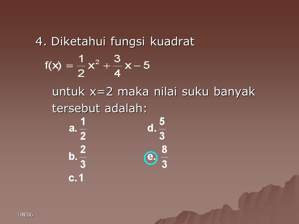 UN'06 4. Diketahui fungsi kuadrat untuk x=2 maka nilai suku banyak untuk x=2 maka nilai suku banyak tersebut adalah: tersebut adalah: