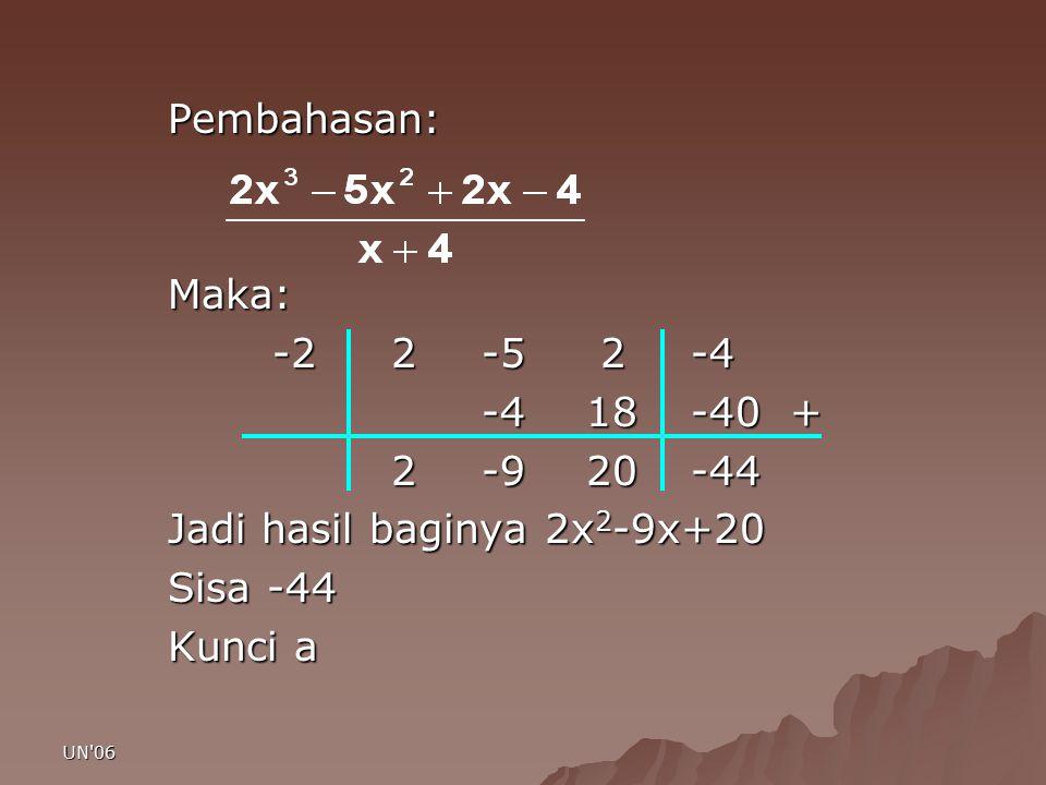 UN'06 Pembahasan:Maka: -2 2-5 2-4 -418-40 + 2 -920-44 2 -920-44 Jadi hasil baginya 2x 2 -9x+20 Sisa -44 Kunci a