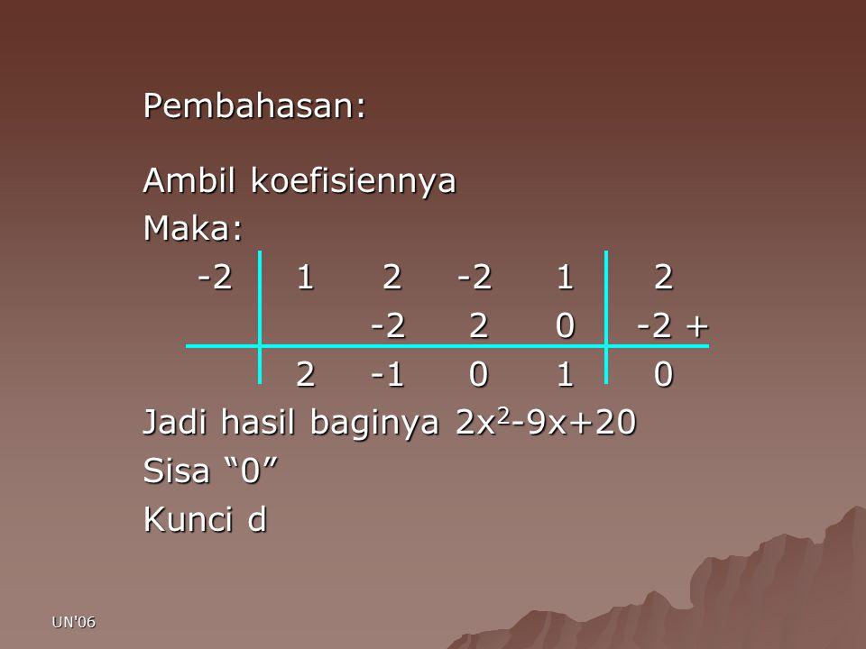 """UN'06 Pembahasan: Ambil koefisiennya Maka: -2 1 2-2 1 2 -2 2 0 -2 + 2 -1 0 1 0 2 -1 0 1 0 Jadi hasil baginya 2x 2 -9x+20 Sisa """"0"""" Kunci d"""