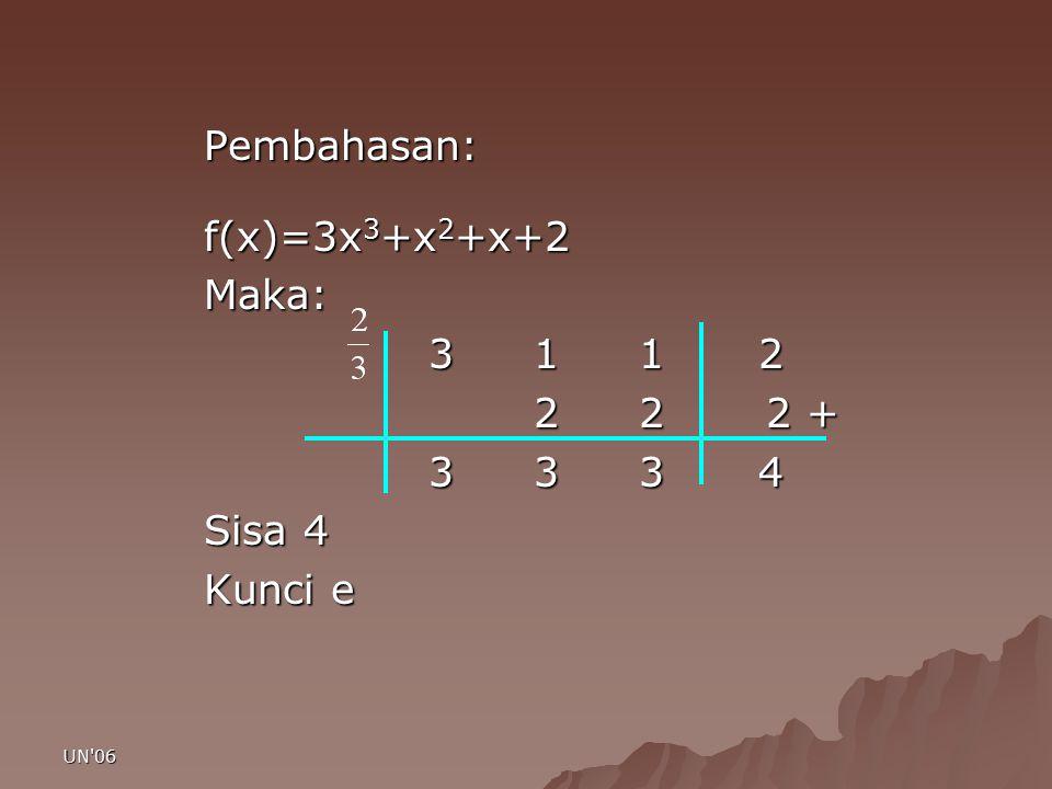 UN'06 Pembahasan: f(x)=3x 3 +x 2 +x+2 f(x)=3x 3 +x 2 +x+2Maka: 3 1 1 2 3 1 1 2 2 2 2 + 2 2 2 + 3 3 3 4 3 3 3 4 Sisa 4 Kunci e