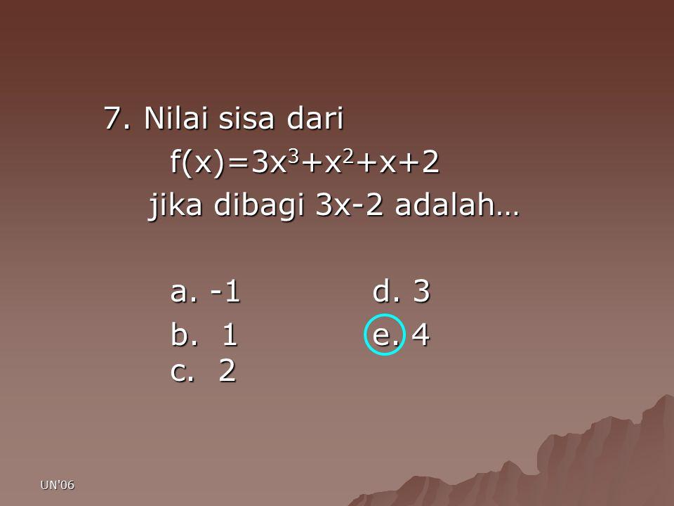 UN'06 7. Nilai sisa dari f(x)=3x 3 +x 2 +x+2 jika dibagi 3x-2 adalah… jika dibagi 3x-2 adalah… a. -1d. 3 b. 1e. 4 c. 2
