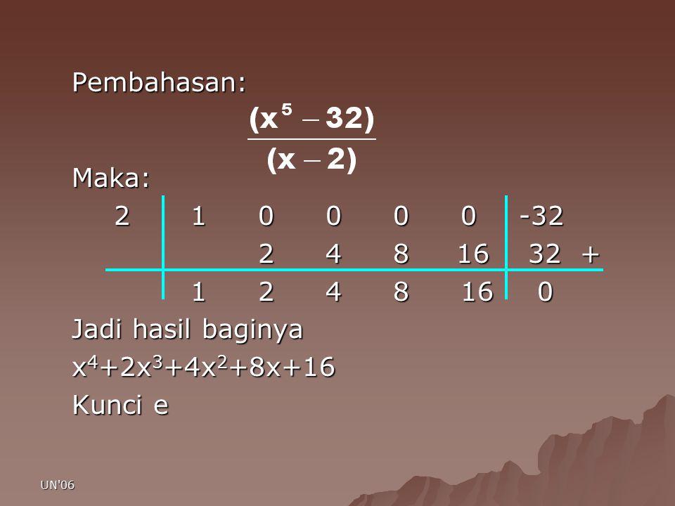 UN'06 Pembahasan:Maka: 2 1 0 0 0 0-32 2 4 8 16 32 + 2 4 8 16 32 + 1 2 4 8 16 0 1 2 4 8 16 0 Jadi hasil baginya x 4 +2x 3 +4x 2 +8x+16 Kunci e