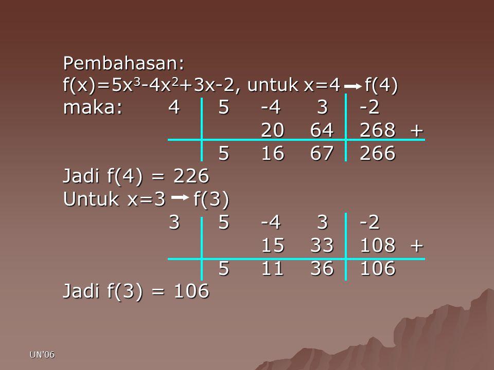 UN'06 Pembahasan: f(x)=5x 3 -4x 2 +3x-2, untuk x=4 f(4) maka: 4 5-4 3-2 2064268 + 51667266 51667266 Jadi f(4) = 226 Untuk x=3 f(3) 3 5-4 3-2 3 5-4 3-2