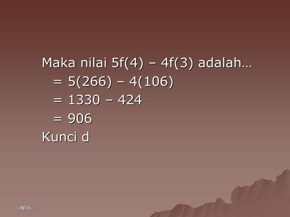 UN'06 Maka nilai 5f(4) – 4f(3) adalah… = 5(266) – 4(106) = 1330 – 424 = 906 Kunci d