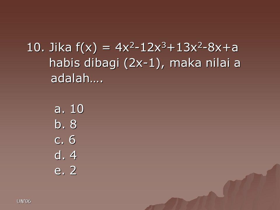 UN'06 10. Jika f(x) = 4x 2 -12x 3 +13x 2 -8x+a habis dibagi (2x-1), maka nilai a habis dibagi (2x-1), maka nilai a adalah…. adalah…. a. 10 b. 8 c. 6 d