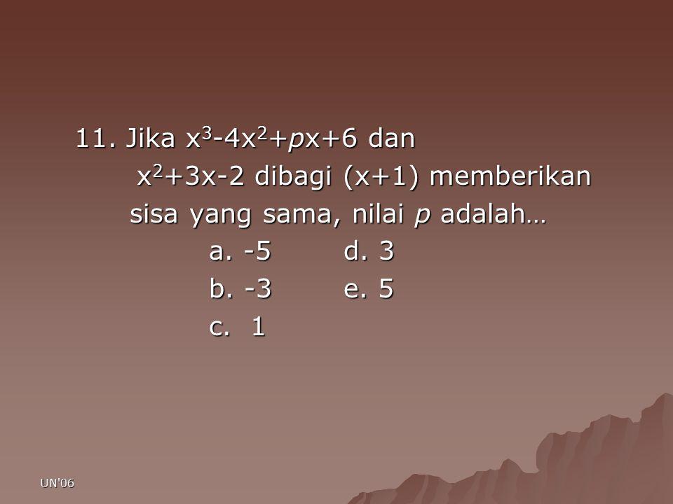 UN'06 11. Jika x 3 -4x 2 +px+6 dan x 2 +3x-2 dibagi (x+1) memberikan x 2 +3x-2 dibagi (x+1) memberikan sisa yang sama, nilai p adalah… sisa yang sama,