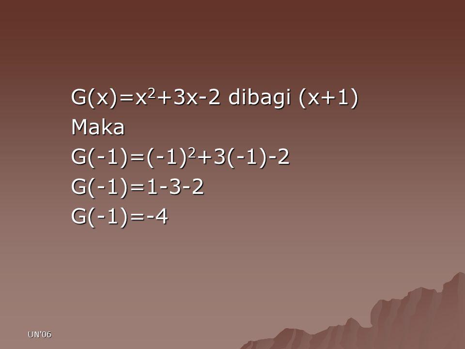 UN'06 G(x)=x 2 +3x-2 dibagi (x+1) Maka G(-1)=(-1) 2 +3(-1)-2 G(-1)=1-3-2G(-1)=-4
