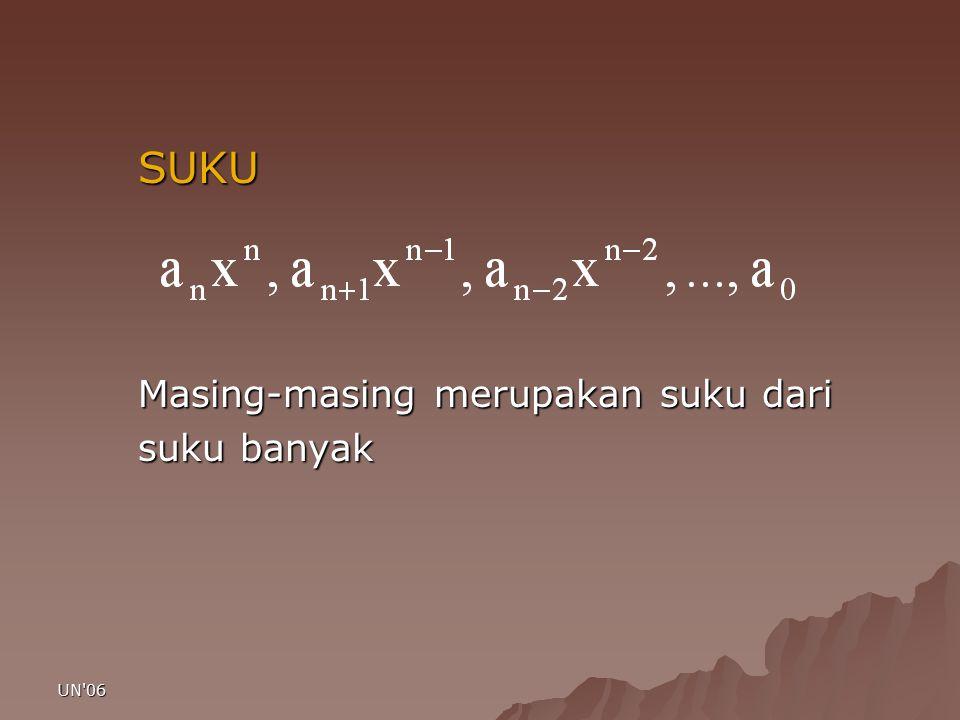UN 06 Suku Tetap (konstanta) A 0 adalah suku tetap atau konstanta, tidak mengandung variabel/peubah.