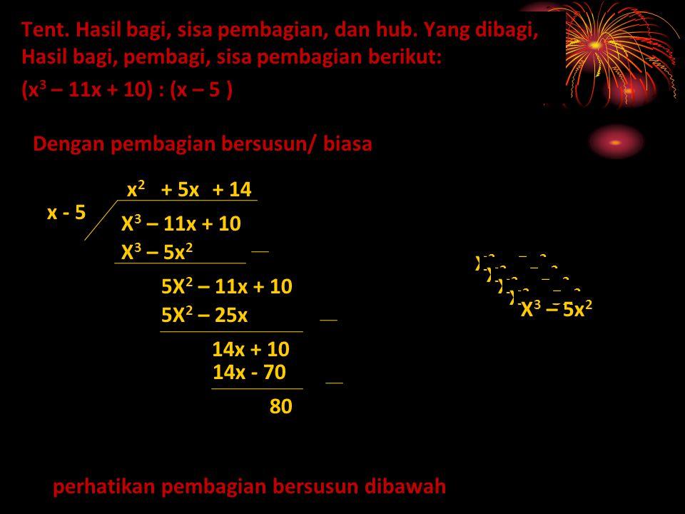 Tent. Hasil bagi, sisa pembagian, dan hub. Yang dibagi, Hasil bagi, pembagi, sisa pembagian berikut: (x 3 – 11x + 10) : (x – 5 ) Dengan pembagian bers