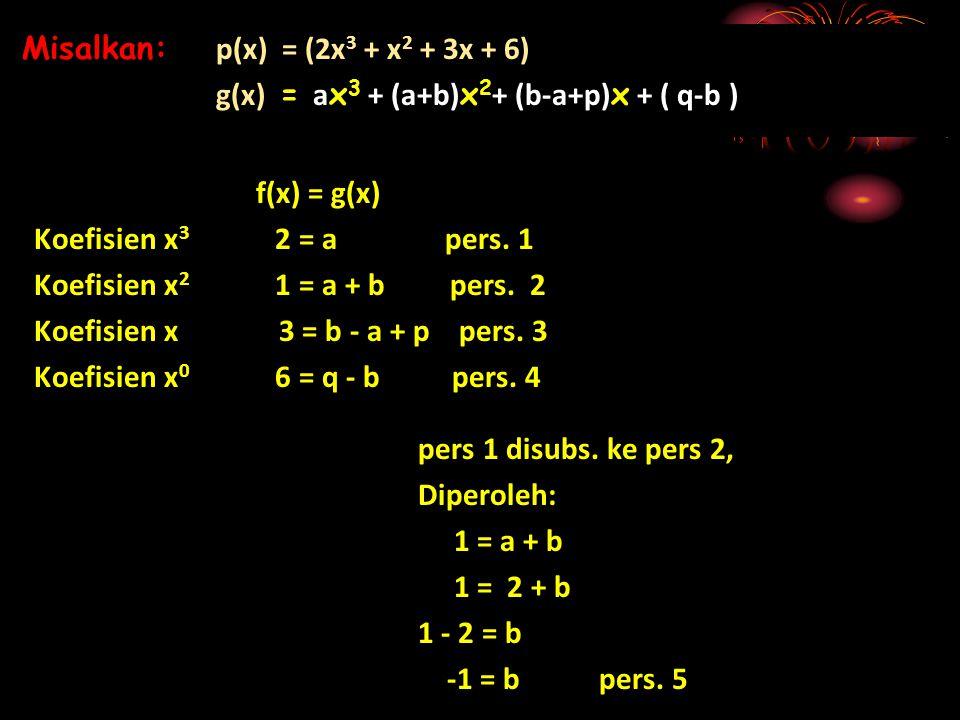f(x) = g(x) Koefisien x 3 2 = a pers. 1 Koefisien x 2 1 = a + b pers. 2 Koefisien x 3 = b - a + p pers. 3 Koefisien x 0 6 = q - b pers. 4 Misalkan: p(