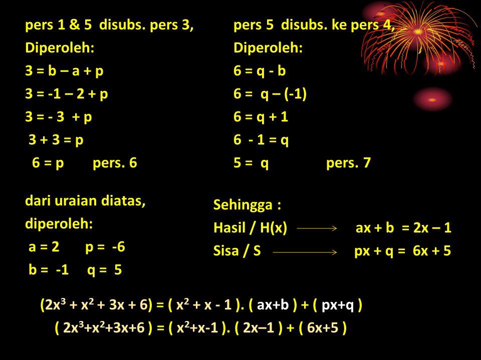 pers 5 disubs. ke pers 4, Diperoleh: 6 = q - b 6 = q – (-1) 6 = q + 1 6 - 1 = q 5 = q pers. 7 pers 1 & 5 disubs. pers 3, Diperoleh: 3 = b – a + p 3 =