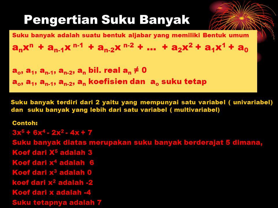 Pengertian Suku Banyak Suku banyak adalah suatu bentuk aljabar yang memiliki Bentuk umum a n x n + a n-1 x n-1 + a n-2 x n-2 + … + a 2 x 2 + a 1 x 1 +