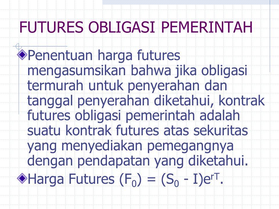 """FUTURES OBLIGASI PEMERINTAH Pihak dengan posisi jual jual dapat memilih obligasi-obligasi yang tersedia adalah """"termurah"""" untuk menyerahkan. Pihak den"""
