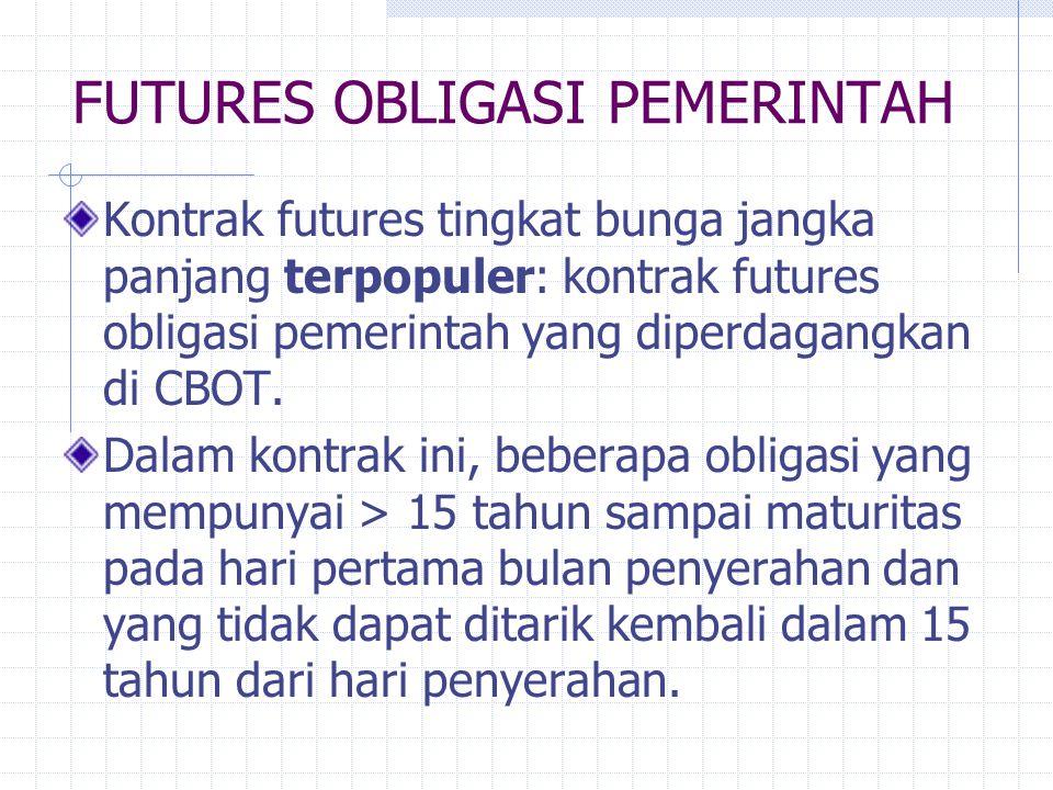 FUTURES OBLIGASI PEMERINTAH Kontrak futures tingkat bunga jangka panjang terpopuler: kontrak futures obligasi pemerintah yang diperdagangkan di CBOT.