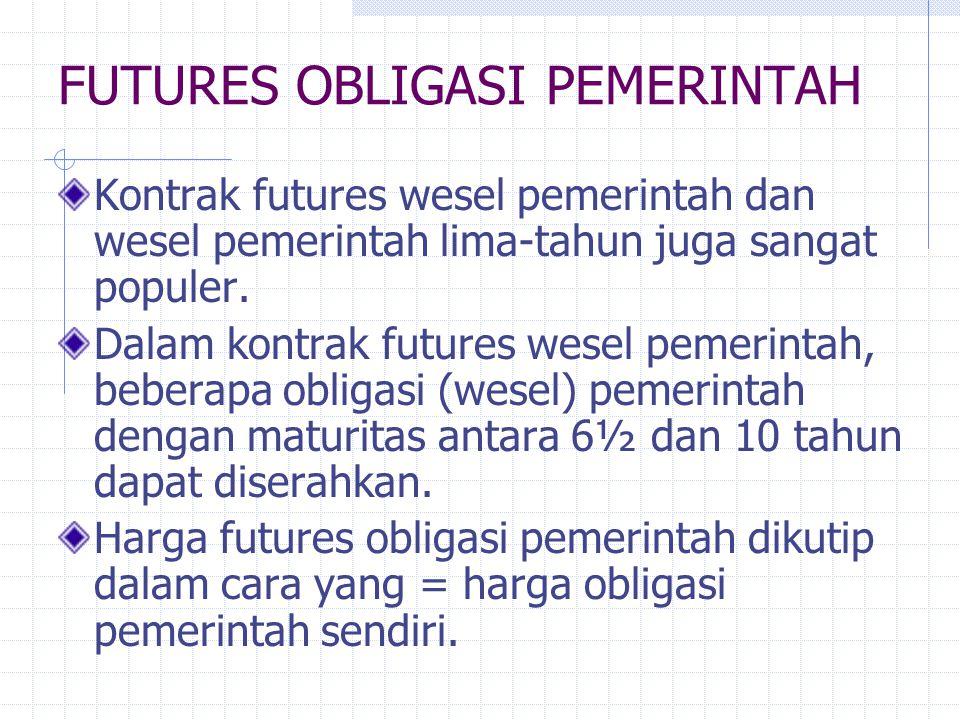 FUTURES OBLIGASI PEMERINTAH Kontrak futures wesel pemerintah dan wesel pemerintah lima-tahun juga sangat populer.