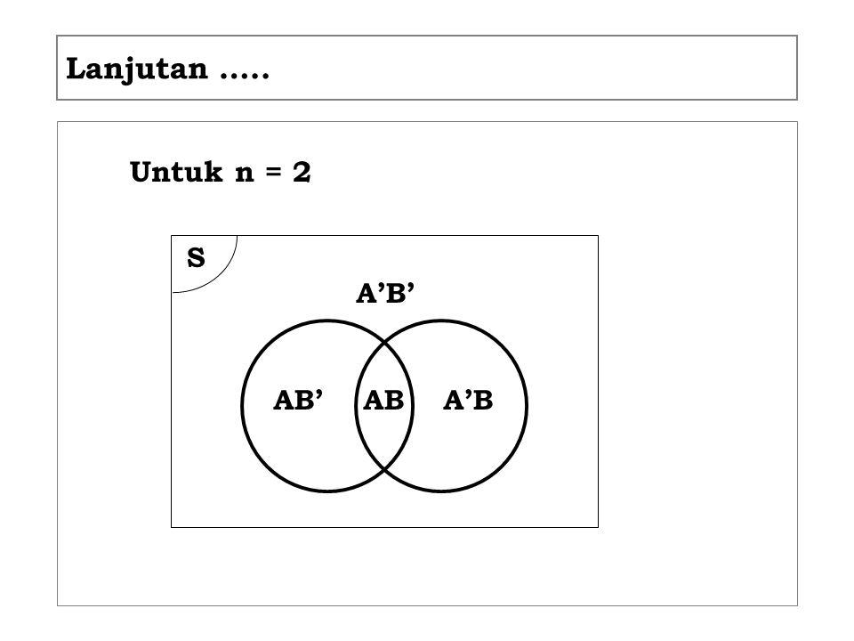 Lanjutan ….. Untuk n = 2 S ABAB' A'B A'B'