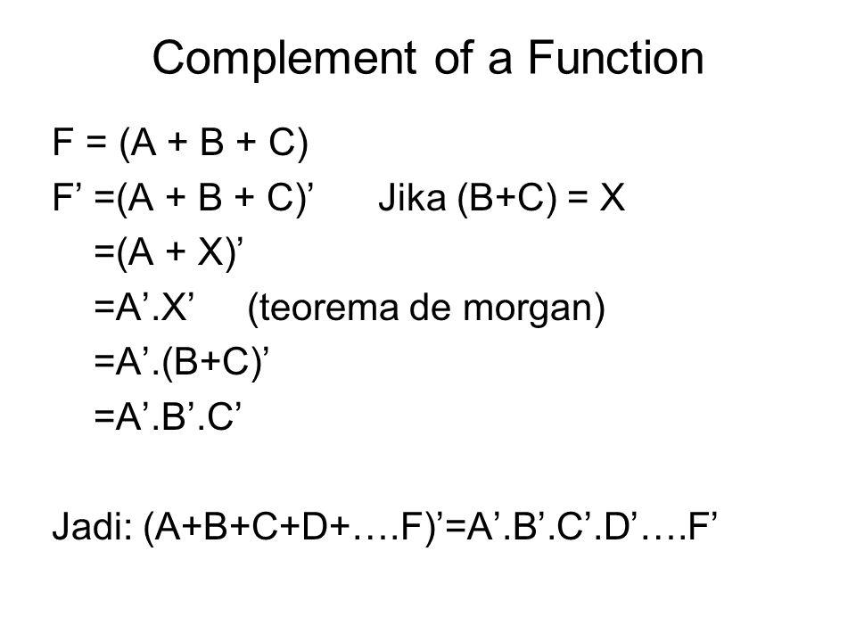 Complement of a Function F = (A + B + C) F' =(A + B + C)' Jika (B+C) = X =(A + X)' =A'.X' (teorema de morgan) =A'.(B+C)' =A'.B'.C' Jadi: (A+B+C+D+….F)
