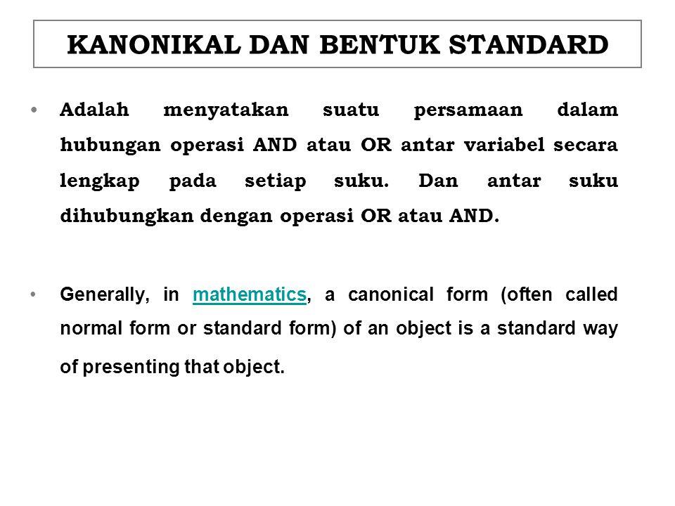KANONIKAL DAN BENTUK STANDARD Adalah menyatakan suatu persamaan dalam hubungan operasi AND atau OR antar variabel secara lengkap pada setiap suku. Dan