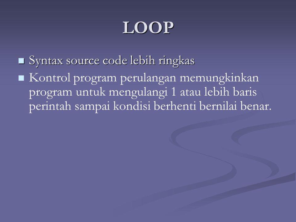 LOOP Syntax source code lebih ringkas Syntax source code lebih ringkas Kontrol program perulangan memungkinkan program untuk mengulangi 1 atau lebih baris perintah sampai kondisi berhenti bernilai benar.