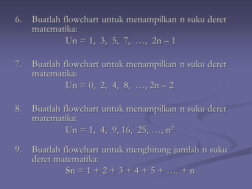 6.Buatlah flowchart untuk menampilkan n suku deret matematika: Un = 1, 3, 5, 7, …, 2n – 1 7.Buatlah flowchart untuk menampilkan n suku deret matematika: Un = 0, 2, 4, 8, …, 2n – 2 8.Buatlah flowchart untuk menampilkan n suku deret matematika: Un = 1, 4, 9, 16, 25, …, n 2 9.Buatlah flowchart untuk menghitung jumlah n suku deret matematika: Sn = 1 + 2 + 3 + 4 + 5 + ….