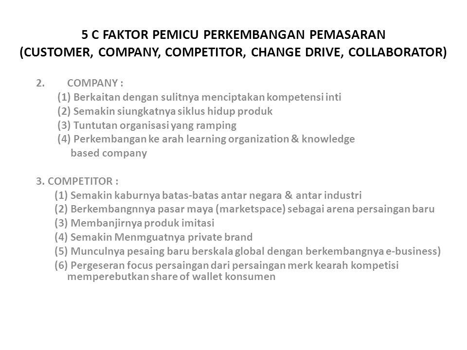 5 C FAKTOR PEMICU PERKEMBANGAN PEMASARAN (CUSTOMER, COMPANY, COMPETITOR, CHANGE DRIVE, COLLABORATOR) 2.COMPANY : (1) Berkaitan dengan sulitnya menciptakan kompetensi inti (2) Semakin siungkatnya siklus hidup produk (3) Tuntutan organisasi yang ramping (4) Perkembangan ke arah learning organization & knowledge based company 3.