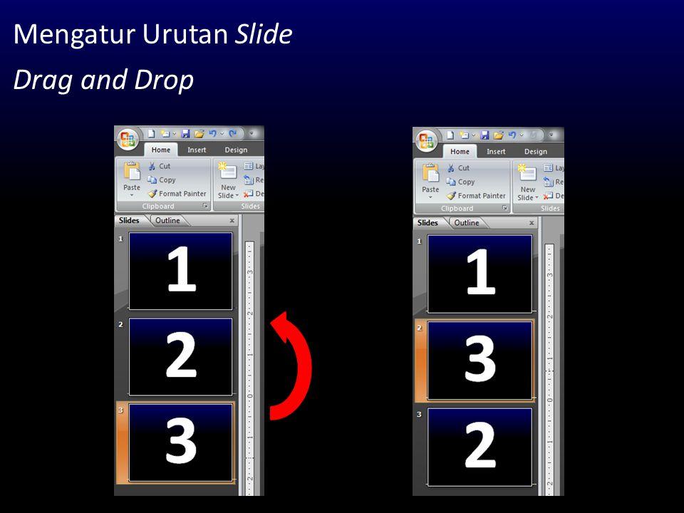 Mengatur Urutan Slide Drag and Drop