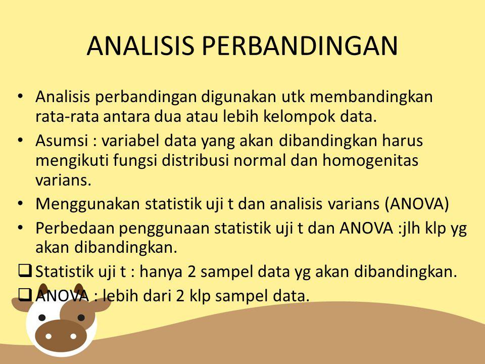 ANALISIS PERBANDINGAN Analisis perbandingan digunakan utk membandingkan rata-rata antara dua atau lebih kelompok data. Asumsi : variabel data yang aka