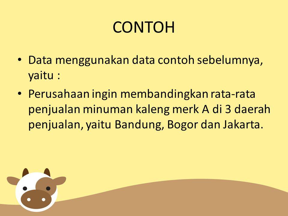 CONTOH Data menggunakan data contoh sebelumnya, yaitu : Perusahaan ingin membandingkan rata-rata penjualan minuman kaleng merk A di 3 daerah penjualan, yaitu Bandung, Bogor dan Jakarta.