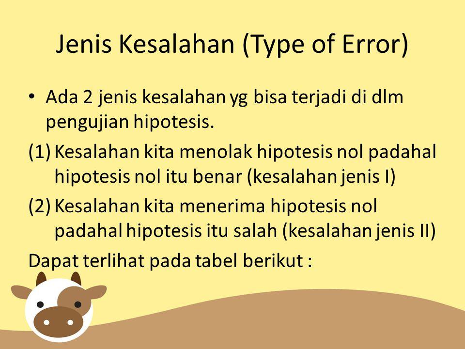 Jenis Kesalahan (Type of Error) Ada 2 jenis kesalahan yg bisa terjadi di dlm pengujian hipotesis. (1)Kesalahan kita menolak hipotesis nol padahal hipo