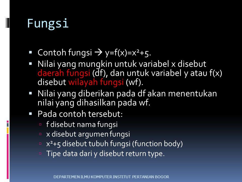 Fungsi  Contoh fungsi  y=f(x)=x 2 +5.  Nilai yang mungkin untuk variabel x disebut daerah fungsi (df), dan untuk variabel y atau f(x) disebut wilay