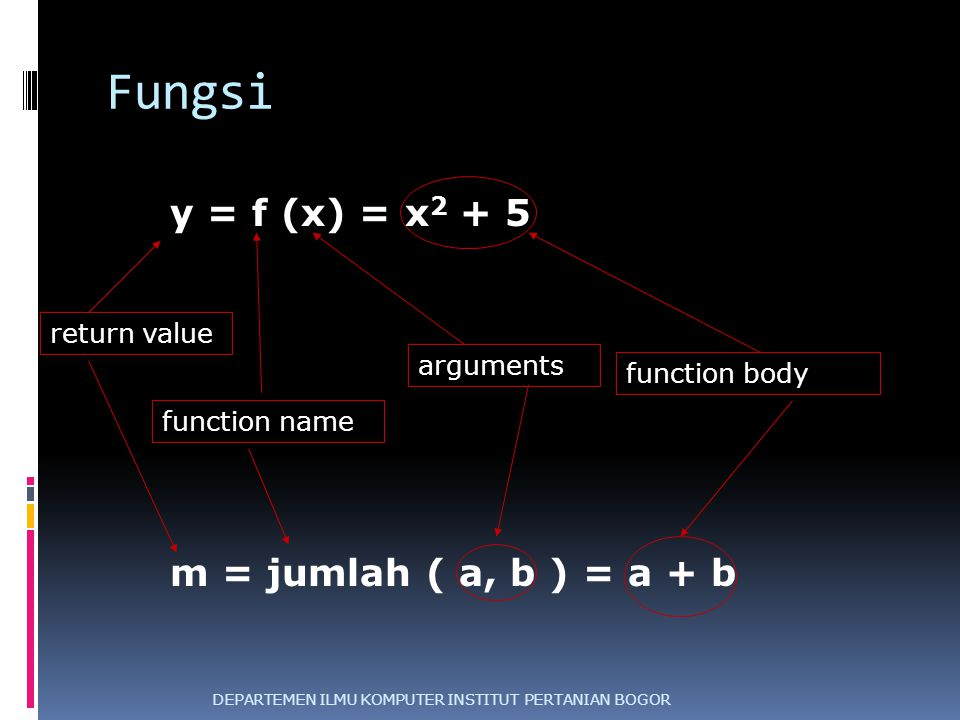 Fungsi DEPARTEMEN ILMU KOMPUTER INSTITUT PERTANIAN BOGOR y = f (x) = x 2 + 5 function name arguments return value function body m = jumlah ( a, b ) =