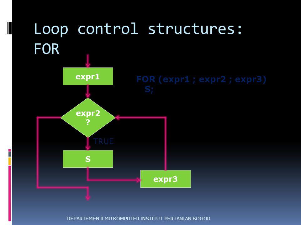 Loop control structures: FOR DEPARTEMEN ILMU KOMPUTER INSTITUT PERTANIAN BOGOR expr2 ? S TRUE FALSE FOR (expr1 ; expr2 ; expr3) S; expr3 expr1