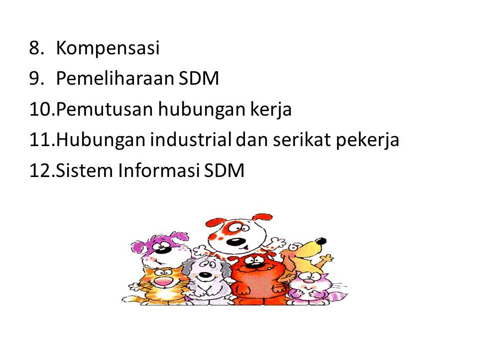 8.Kompensasi 9.Pemeliharaan SDM 10.Pemutusan hubungan kerja 11.Hubungan industrial dan serikat pekerja 12.Sistem Informasi SDM