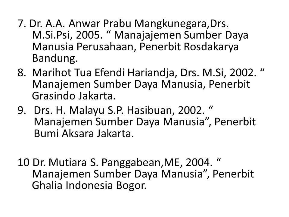 "7. Dr. A.A. Anwar Prabu Mangkunegara,Drs. M.Si.Psi, 2005. "" Manajajemen Sumber Daya Manusia Perusahaan, Penerbit Rosdakarya Bandung. 8. Marihot Tua Ef"