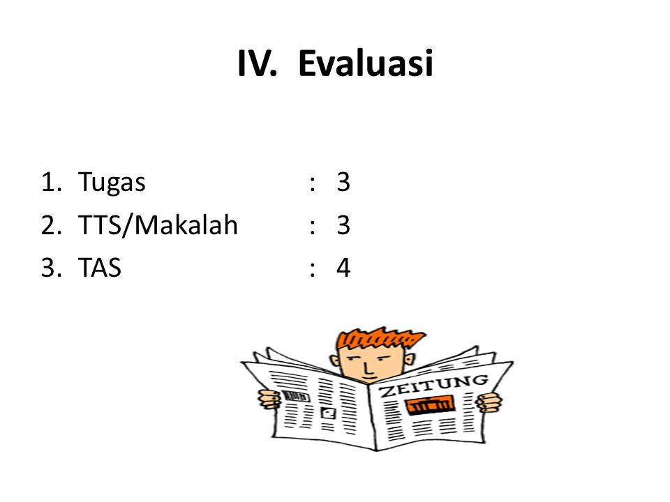 IV. Evaluasi 1.Tugas: 3 2.TTS/Makalah: 3 3.TAS: 4