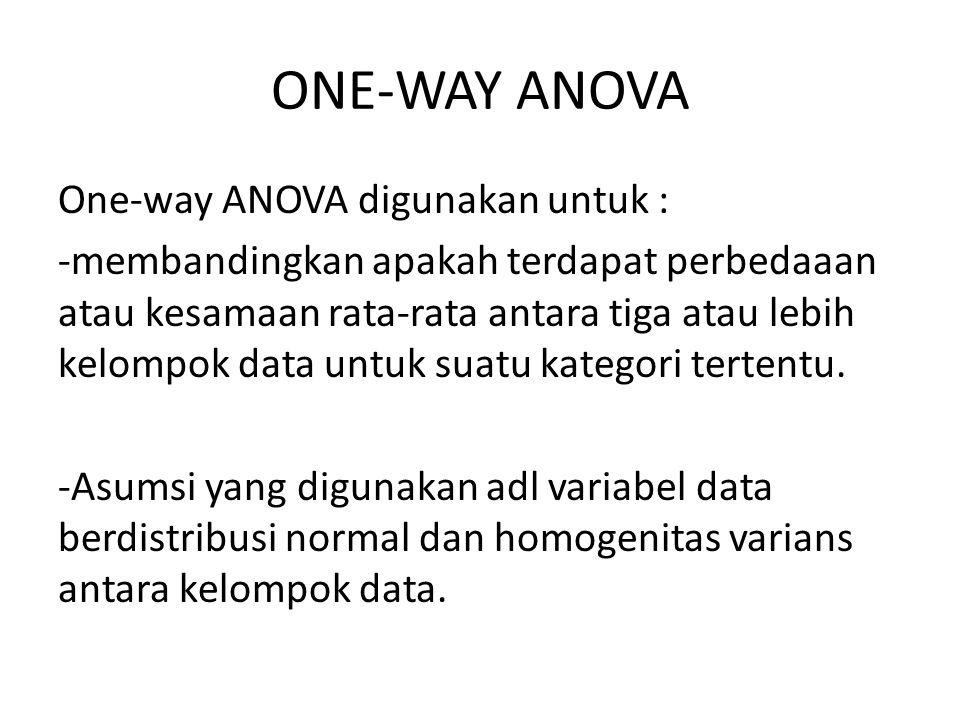ONE-WAY ANOVA One-way ANOVA digunakan untuk : -membandingkan apakah terdapat perbedaaan atau kesamaan rata-rata antara tiga atau lebih kelompok data u