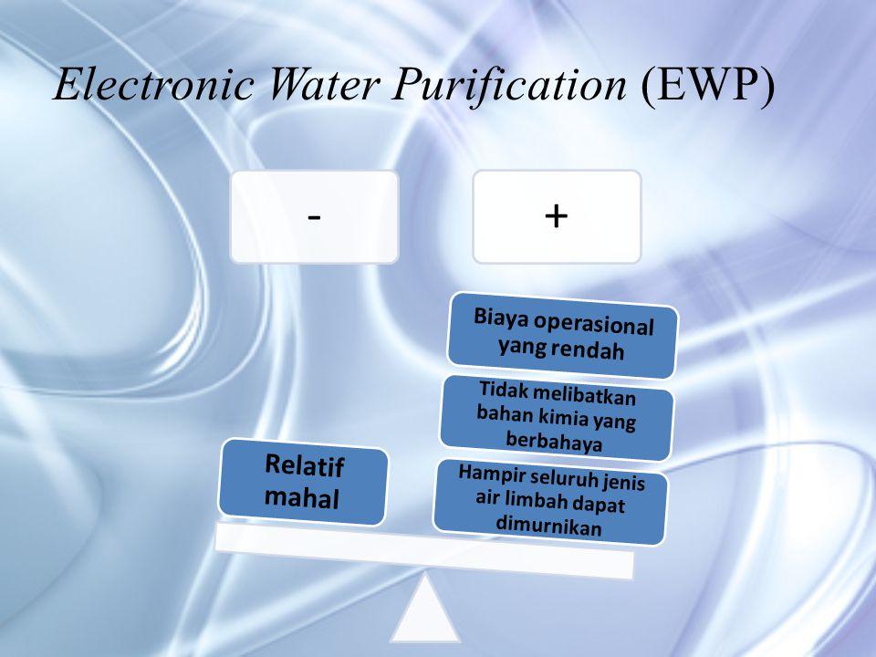 Electronic Water Purification (EWP) -+ Hampir seluruh jenis air limbah dapat dimurnikan Tidak melibatkan bahan kimia yang berbahaya Biaya operasional yang rendah Relatif mahal