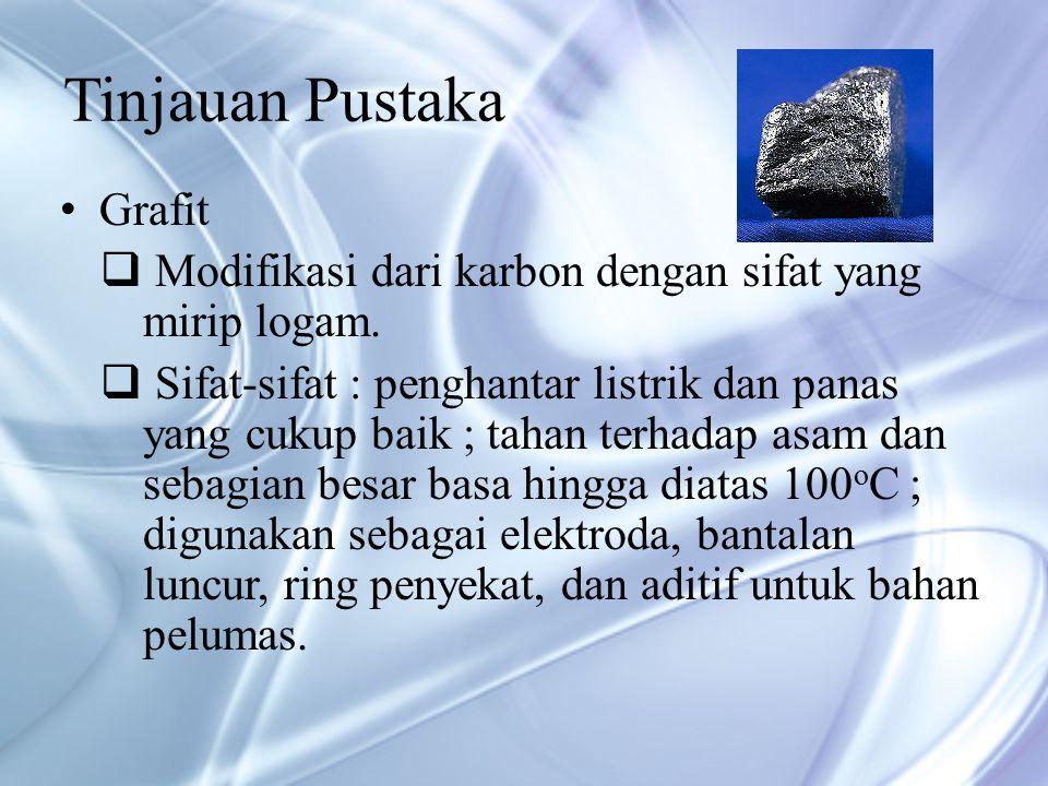 Tinjauan Pustaka Grafit  Modifikasi dari karbon dengan sifat yang mirip logam.