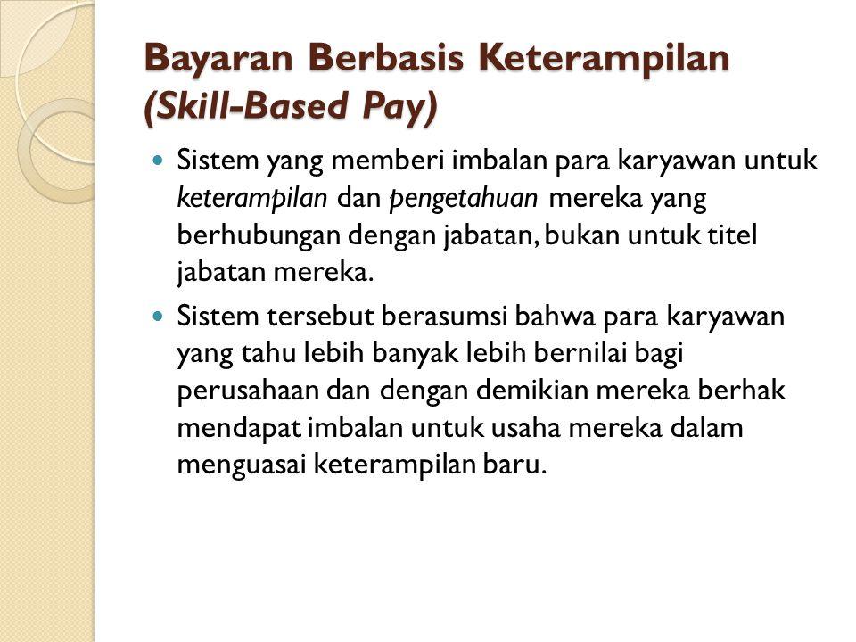 Bayaran Berbasis Keterampilan (Skill-Based Pay) Sistem yang memberi imbalan para karyawan untuk keterampilan dan pengetahuan mereka yang berhubungan d