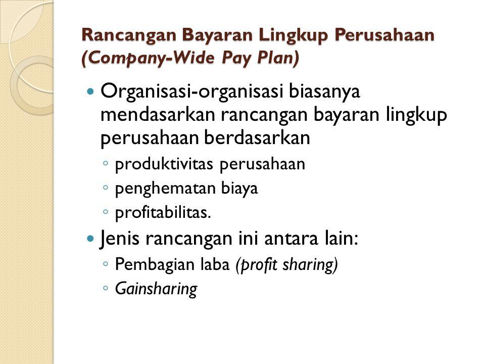 Rancangan Bayaran Lingkup Perusahaan (Company-Wide Pay Plan) Organisasi-organisasi biasanya mendasarkan rancangan bayaran lingkup perusahaan berdasark