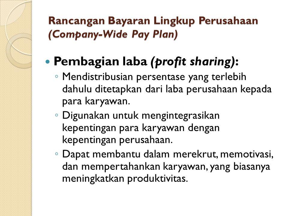 Rancangan Bayaran Lingkup Perusahaan (Company-Wide Pay Plan) Pembagian laba (profit sharing): ◦ Mendistribusian persentase yang terlebih dahulu diteta