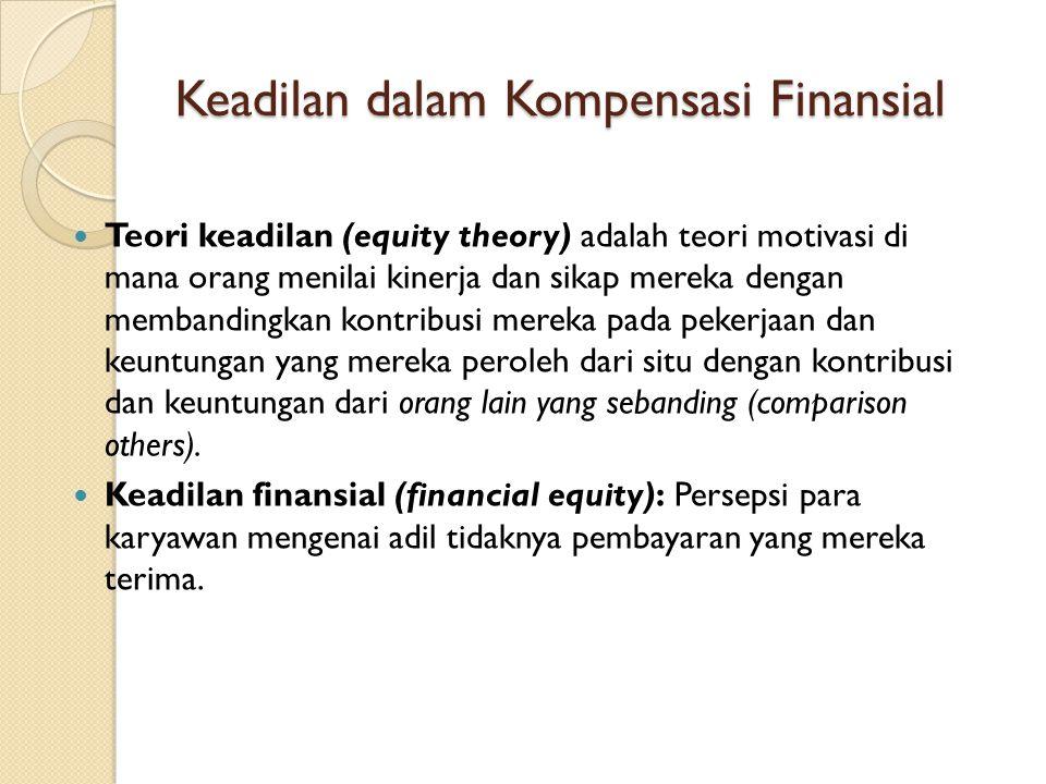 Keadilan dalam Kompensasi Finansial Teori keadilan (equity theory) adalah teori motivasi di mana orang menilai kinerja dan sikap mereka dengan memband