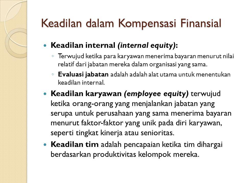 Keadilan dalam Kompensasi Finansial Keadilan internal (internal equity): ◦ Terwujud ketika para karyawan menerima bayaran menurut nilai relatif dari j