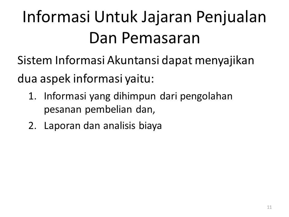 Informasi Untuk Jajaran Penjualan Dan Pemasaran Sistem Informasi Akuntansi dapat menyajikan dua aspek informasi yaitu: 1.Informasi yang dihimpun dari