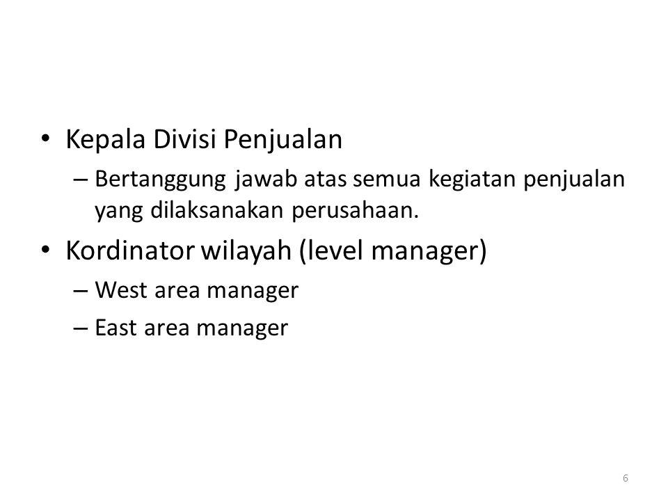 Kepala Divisi Penjualan –B–Bertanggung jawab atas semua kegiatan penjualan yang dilaksanakan perusahaan. Kordinator wilayah (level manager) –W–West ar