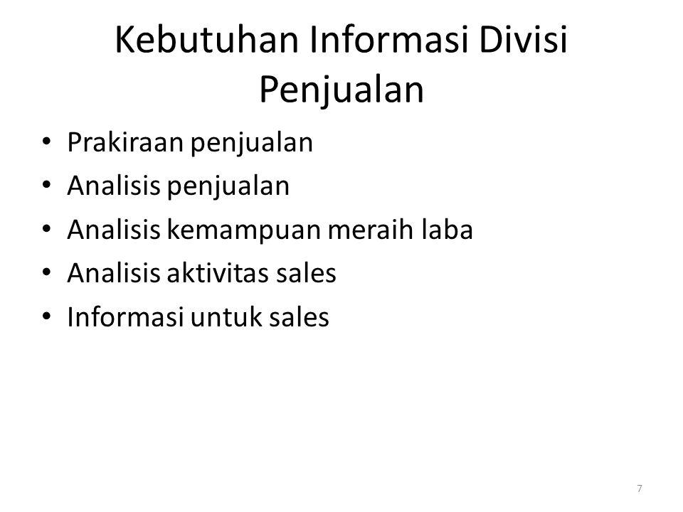 Kebutuhan Informasi Divisi Penjualan Prakiraan penjualan Analisis penjualan Analisis kemampuan meraih laba Analisis aktivitas sales Informasi untuk sa