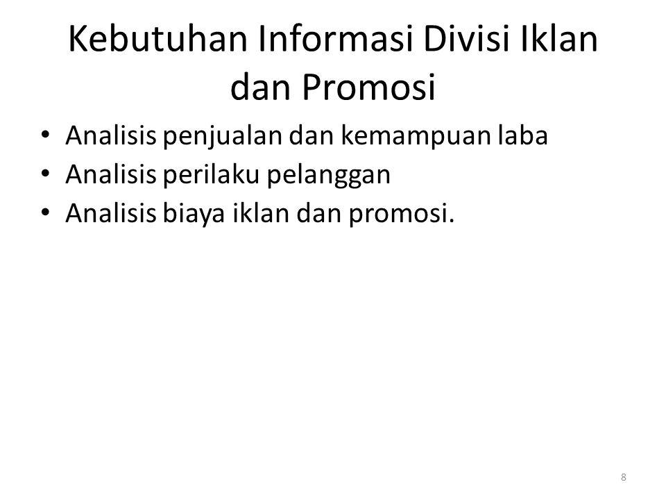 Kebutuhan Informasi Divisi Iklan dan Promosi Analisis penjualan dan kemampuan laba Analisis perilaku pelanggan Analisis biaya iklan dan promosi. 8