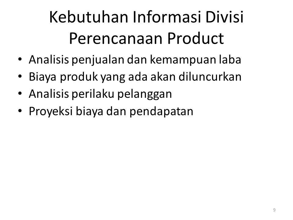 Kebutuhan Informasi Divisi Perencanaan Product Analisis penjualan dan kemampuan laba Biaya produk yang ada akan diluncurkan Analisis perilaku pelangga